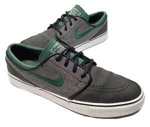 Nike SB Zoom Stefan Janoski Leather Herringbone Black/Green 616490-030 Mens 9.5
