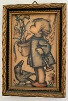 """Small Vintage Hummel Print in Frame Ready to Hang Western Germany 3 3/4"""" x 2 3/4"""