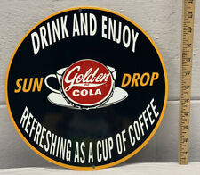 Sun Drop Golden Cola Metal Sign Soda Coffee Drink Diner Refresh Bottle Gas Oil