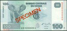 CONGO DEMOCRATIC - 100  FRANCS 2007 Prefix MB - P 98As   SPECIMEN  Uncirculated