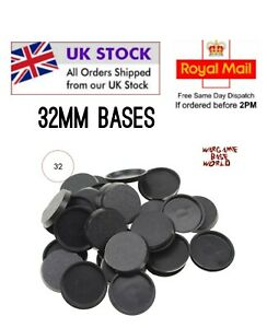 32mm Gaming Bases for Warhammer 40k, AoS Infinity, Miniatures round UK Seller