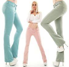 Damen Push Up Schlag Jeans Hose Denim Stretch 5 Pockets XS S M L XL