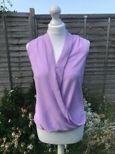 Newlook Top Size 8 Lilac Blouse Sleeveless Fitted Top Wrap Top Purple B2