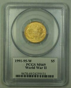 1991-1995 US World War II Commemorative Gold $5 Coin W/ John Mercanti Signature
