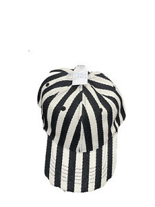 Time & Tru Cap Hat Black/White Stripe Herringbone Cap TT201400