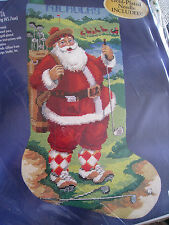 Bucilla Christmas Holiday Needlepoint Stocking Kit,GOLFING SANTA,Gillum,60762,18