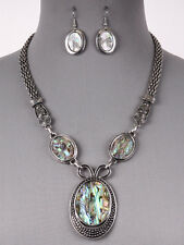 Abalone Shell Pendant Statement Antique Silver Tone Necklace Earrings Set