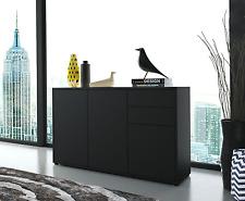 Black Sideboard Unit Storage Drawer Cupboards Cabinet Stand Wood Matt Furniture