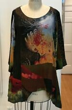 Citron Santa Monica Hand-Dyed Asian Garden Silk Jacquard Blouse Top Size 2X
