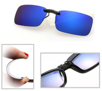 Blue Polarized Clip On Driving Glasses Sunglasses Day Vision Shades UV400 Lens