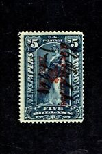 1898 U.S. Revenue $5.00 Dk Dark Blue SURCHARGED in Red Reading Up Sc#R160 RARE!
