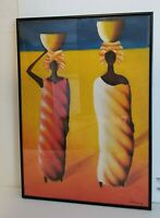 Handmade African style abstract Oil Painting on Panel Canvas  Black Maetal Fram