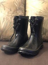Bogs Women's Boots Lace Up Waterproof Size 9 Black Rubber URBN Farmer Boot