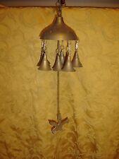Vintage Brass Windchimes Temple Bells with bird