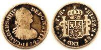 Spain-Carlos IV. 1/2 Real. 1804 TH. Mexico. Plata 1,6