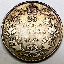 1929 Canadian / Canada 25 Cent Silver Quarter -F Fine Condition
