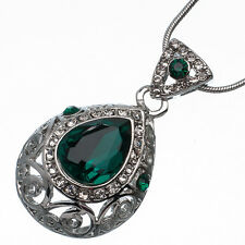 7.62 Ct Pear Cut Style Shape Green Emerald CZ 18K White Gold Plated Pendant