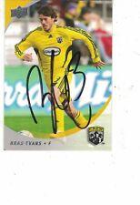 2008 Upper Deck MLS Soccer Brad Evans Columbus Crew Authentic Autograph COA