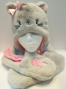 Claire's Girls Hat Scarf Mittens Sparkle Pink Gray Soft Kitty Cat Bow Paws Ears