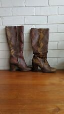 Boots Leather FREE PEOPLE size 39 knee high brown snake skin animal print