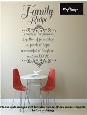 Kitchen Family recipe quote vinyl wall art for kitchen/dining room walls
