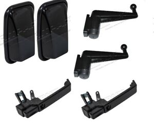 LAND ROVER DEFENDER 90 110 130 XS GLOSS BLACK PACK MIRRORS WITH ARMS & HANDLES