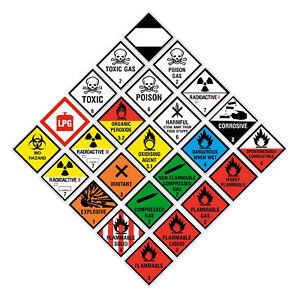 Hazchem Hazard Warning Stickers 100x100mm Gas Explosive ADR Corrosive Flammable
