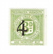 Freshwater Yarmouth & Newport Railway 1923 4d on 3d railway letter stamp mint