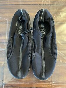 Speedo Black Hard Sole Water Shoe Size 9 Adjustable Strap