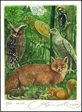 Kirnitskiy Sergey 1999 Exlibris C4 Animals Fox Owl Mouse Rat Squirrel Eagle 11