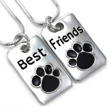 Doggy Puppy Paws Best Friends Forever BFF Necklace Pendant Animal Lovers Dog Tag