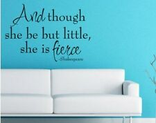 SHE IS FIERCE Shakespeare Quote Vinyl Wall Decal Lettering Nursery Girls Room
