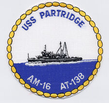 USS Partridge Am/AT 16/138 - 5 inch patch - ship center BC Patch Cat. No. B834