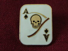"""RETRO/MILITARY hatpin """"DEATH CARD - ACE OF SPADES"""" cloisonne pin, #14897"""