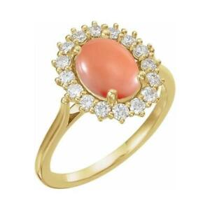 14K Yellow Gold Pink Coral and Diamond Halo Ring Size 7