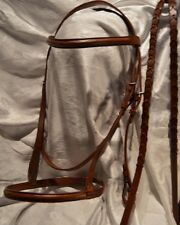 New, fancy leaf brown leather English bridle