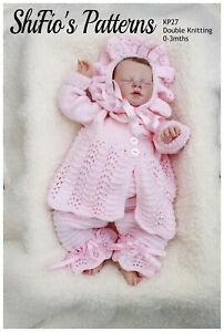 Knitting Pattern for Baby Jacket, Bonnet and Trousers, Baby Knitting Pattern,...