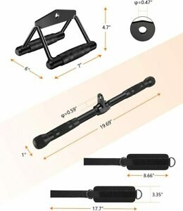 Professional Cable Machine Attachments Tricep Rope, Curl Bar for Home Gym Sport
