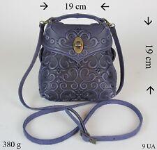 Leder Damen Tasche Umhängetasche Schultertasche Blau Exklusiv 100% Kalbleder