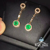 Natural Emerald Gemstone Solid 925 Sterling Silver Drop Earrings
