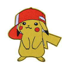 "POKEMON GO PIKACHU w/ RED HAT PATCH EMBROIDERIED IRON ON APPLIQUE 2.7""x3.5"""