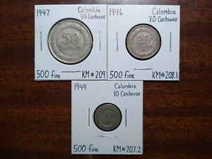 Colombia Silver Coin Set from late 1940s