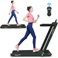 2.25HP 2-in-1 Dual Foldable Jogging Machine Treadmill w/ Speaker Home Gym Green
