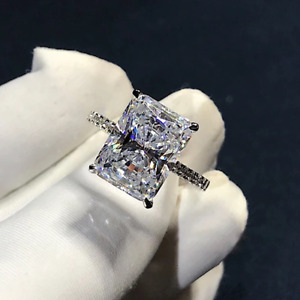 2.68 TCW Radiant Cut Brilliant Diamond Engagement Ring In 14K White Gold Plated