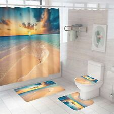 Nightfall Beach Shower Curtain Set Thick Bathroom Rug Bath Mat Toilet Lid Cover