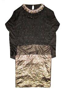Maurizio Pecoraro Sequin Jewel Embellished Black/Metallic Gold Dress - UK 8