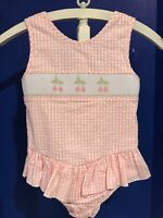 Castles and Crowns Smocked Bathing Suit Size 7 Pink White