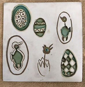 VNTGE Bennington VT Potter's Co-op Ceramic Trivet Eggs&Birds Modernist #1535 8""