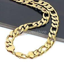 "Or jaune 18 carats rempli (gp) 23.6"" Bijoux Figaro Chaîne Hommes (Curb) Collier"