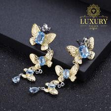 Natural Swiss Blue Topaz Solid 925 Silver Handmade Butterfly Drop Earrings